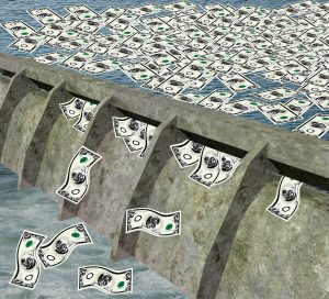 3d render of a water dam with money flowing in the water.